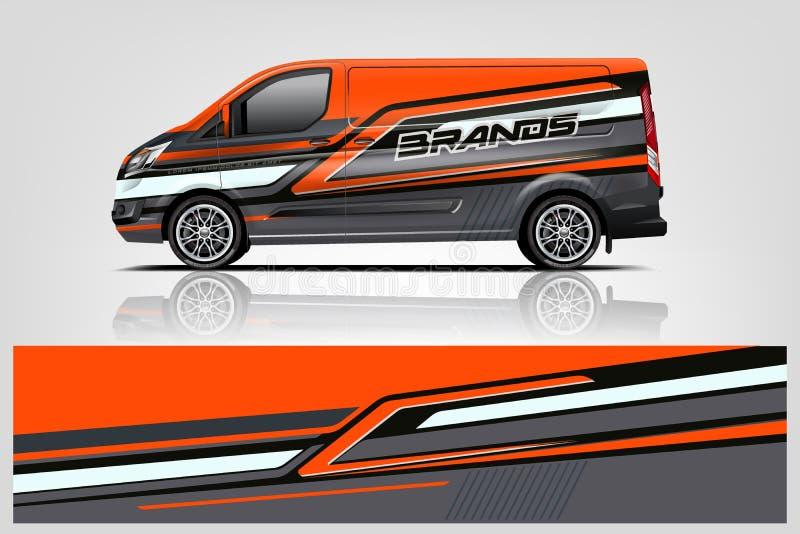 Van Wrap Livery design 10 eps vektor royaltyfri illustrationer