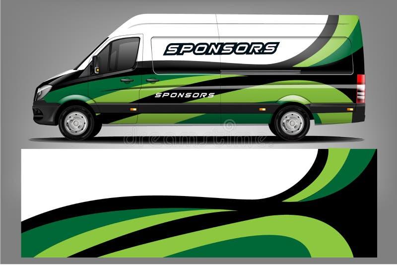 Van Wrap Livery design. Ready print wrap design stock illustration