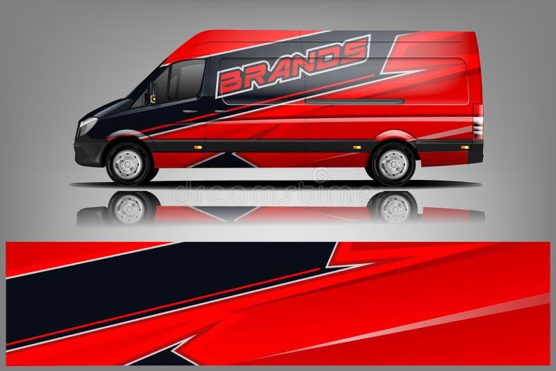 Van Wrap Livery-ontwerp Het klaar ontwerp van de drukomslag voor Bestelwagen - Het vector stock illustratie