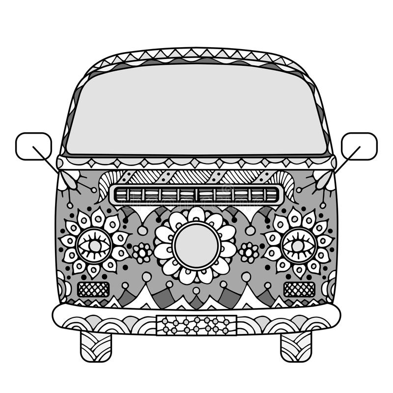 Van in zentangle style. Vintage car a mini van in zentangle style. Hand drawn image. Monochrome vector illustration. The popular bus model in the environment of vector illustration