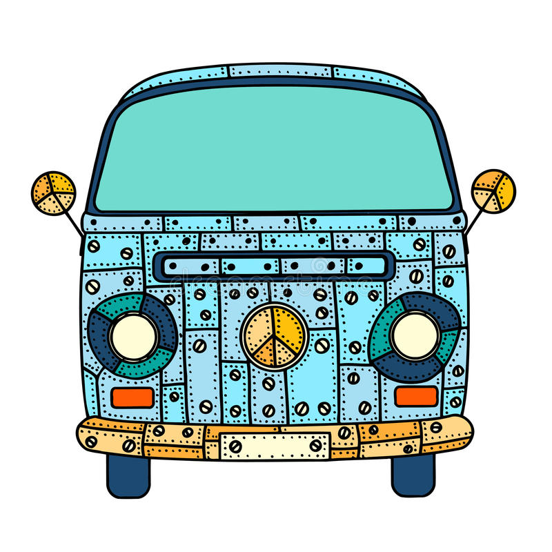 Van in zentangle style. Vintage car a mini van in zentangle style. Hand drawn image. The popular bus model in the environment of the followers of the hippie vector illustration