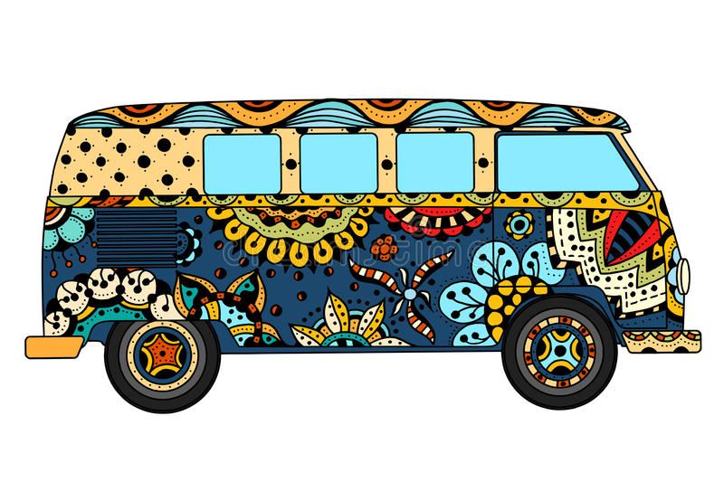 Van in zentangle style. Vintage car a mini van in zentangle style. Hand drawn image. The popular bus model in the environment of the followers of the hippie royalty free illustration