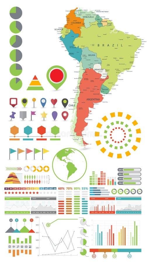 Van Zuid-Amerika de kaart en van Infographics ontwerpelementen Op wit stock illustratie