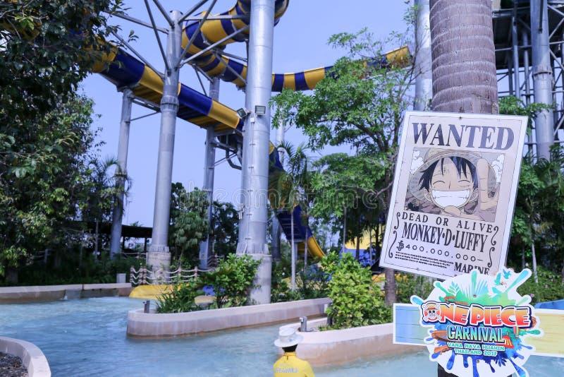 Vana Nava Waterpark Hua Hin på Hua Hin på tema av en styckkarneval arkivbild