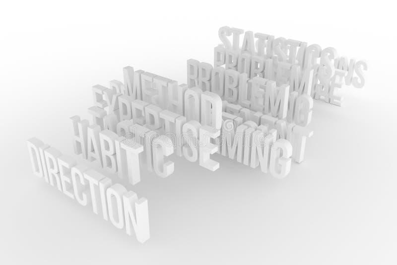 Vana & riktning, begreppsmässiga grå färger för affär eller svart & ord för vit B&W 3D Överskrift, konstverk, meddelande & illust stock illustrationer
