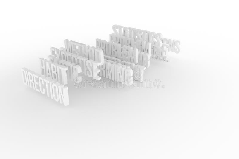 Vana & riktning, begreppsmässiga grå färger för affär eller svart & ord för vit B&W 3D Abstrakt begrepp, kreativitet, cgi & desig royaltyfri illustrationer