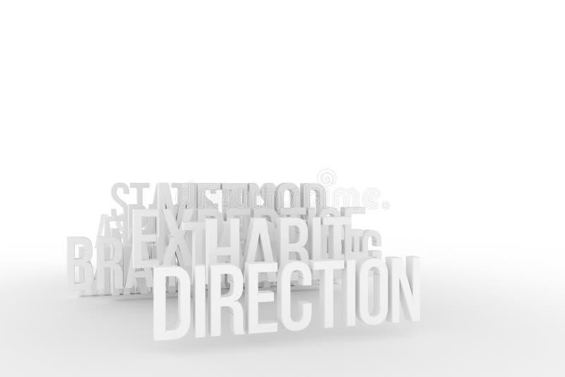 Vana & riktning, begreppsmässiga grå färger för affär eller svart & ord för vit B&W 3D Diagram, rengöringsduk, stil & kommunikati vektor illustrationer