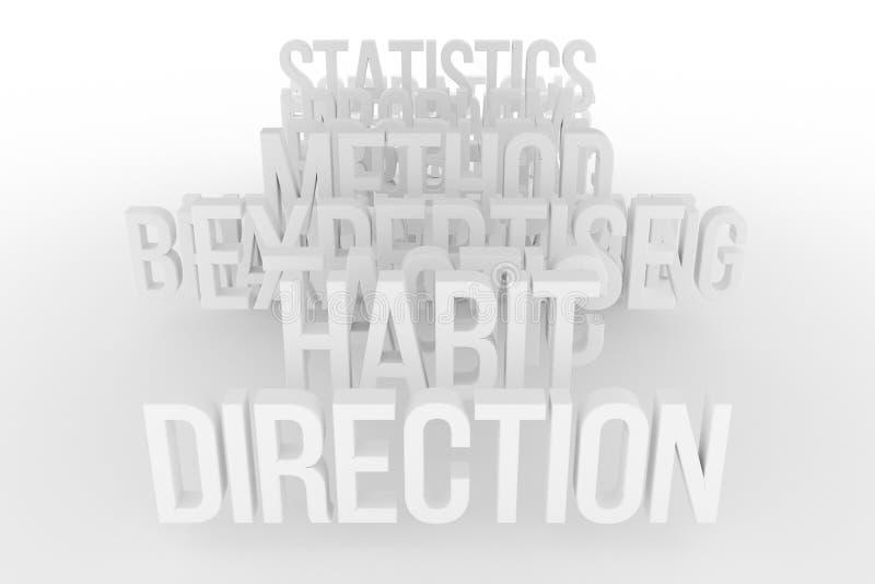 Vana & riktning, begreppsmässiga grå färger för affär eller svart & ord för vit B&W 3D Titel, bakgrund, realitet & illustration vektor illustrationer