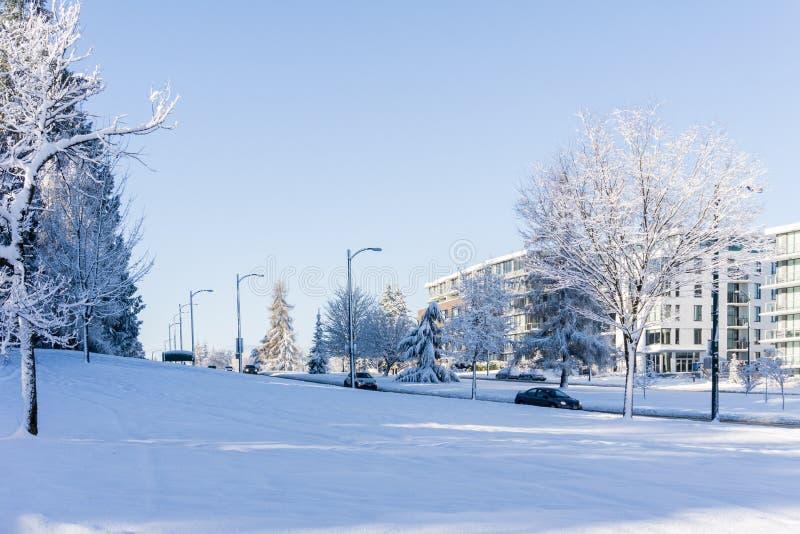 VANCÔVER, CANADÁ - 24 de fevereiro de 2018: Manhã do inverno após uma noite da rua de Cambie do blizzard da neve imagem de stock