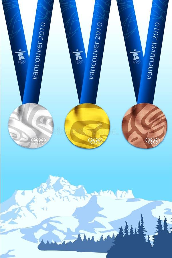 Vancouver 2010 medailles royalty-vrije illustratie