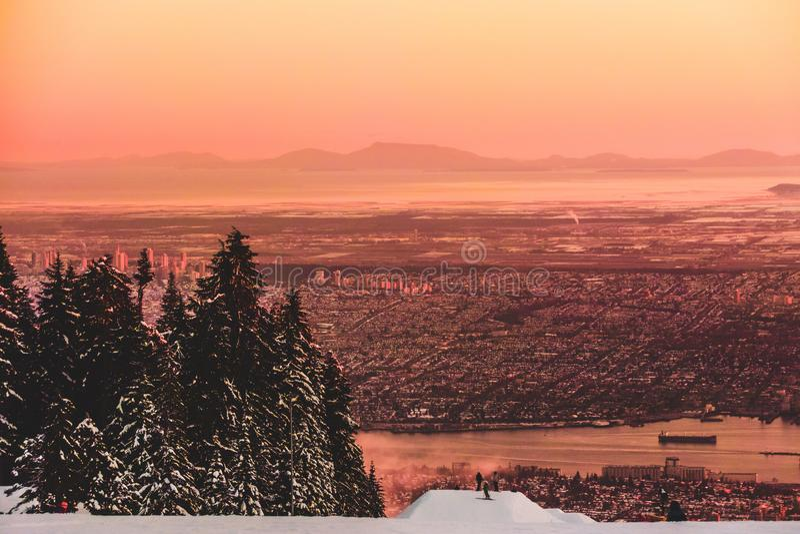 Vancouver-Ansicht vom Waldhuhn-Berg in Nord-Vancouver BC Kanada lizenzfreies stockfoto