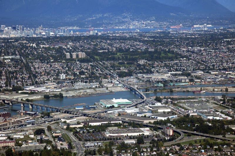 Vancouver-Antenne - Richmond und Fraser Fluss lizenzfreie stockbilder
