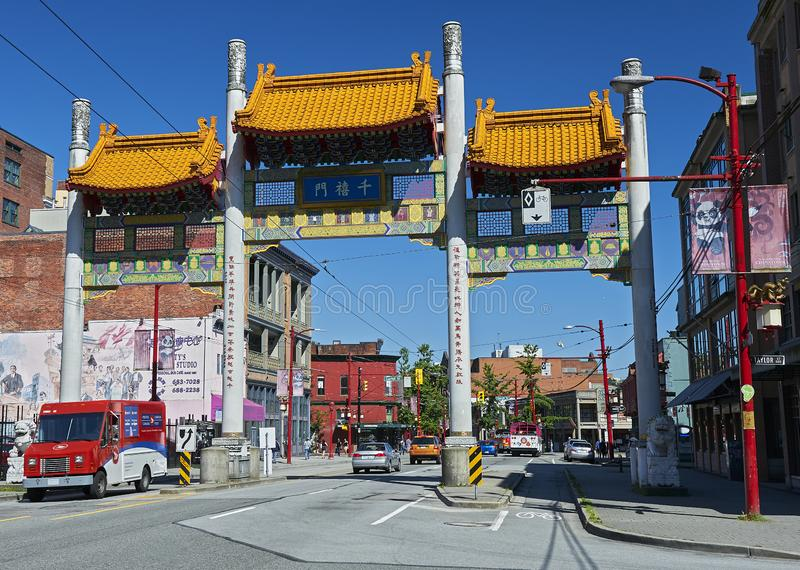 Millennium Gate on Pender Street in Chinatown, Vancouver, Canada stock photography