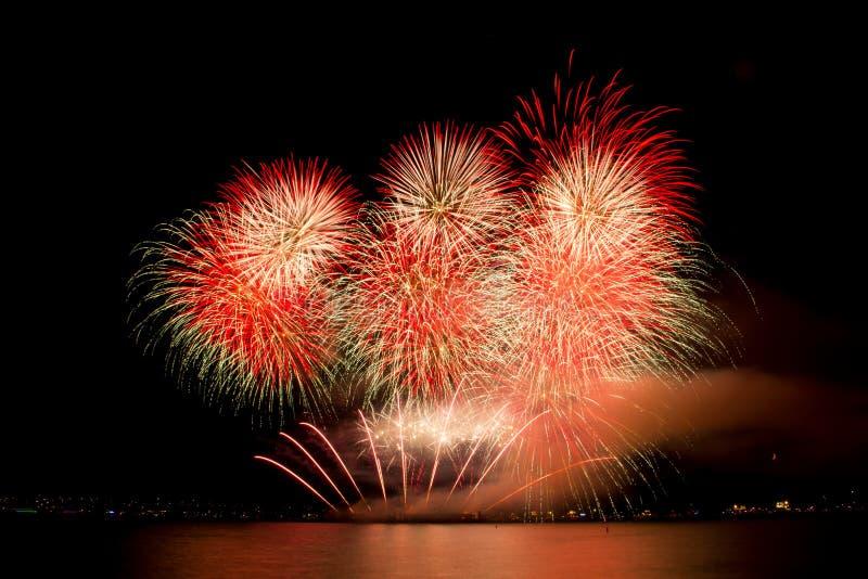 Vancouver, BC C Het de zomervuurwerk toont Veelkleurig Vuurwerk royalty-vrije stock afbeeldingen