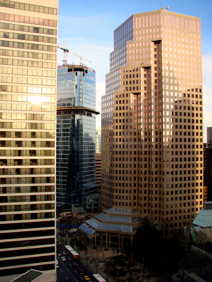 Vancouver, BC, Canada. A view from one of the office buildings in downtown Vancouver, BC, Canada royalty free stock photos