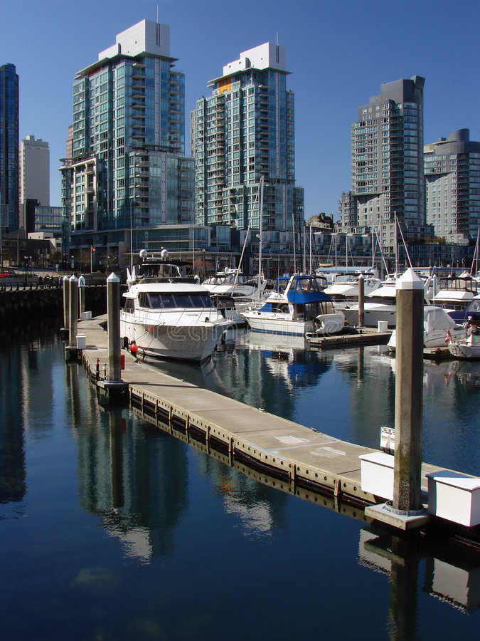 Vancouver, BC, Canada. A view over Coal Harbour in Vancouver, BC, Canada stock images