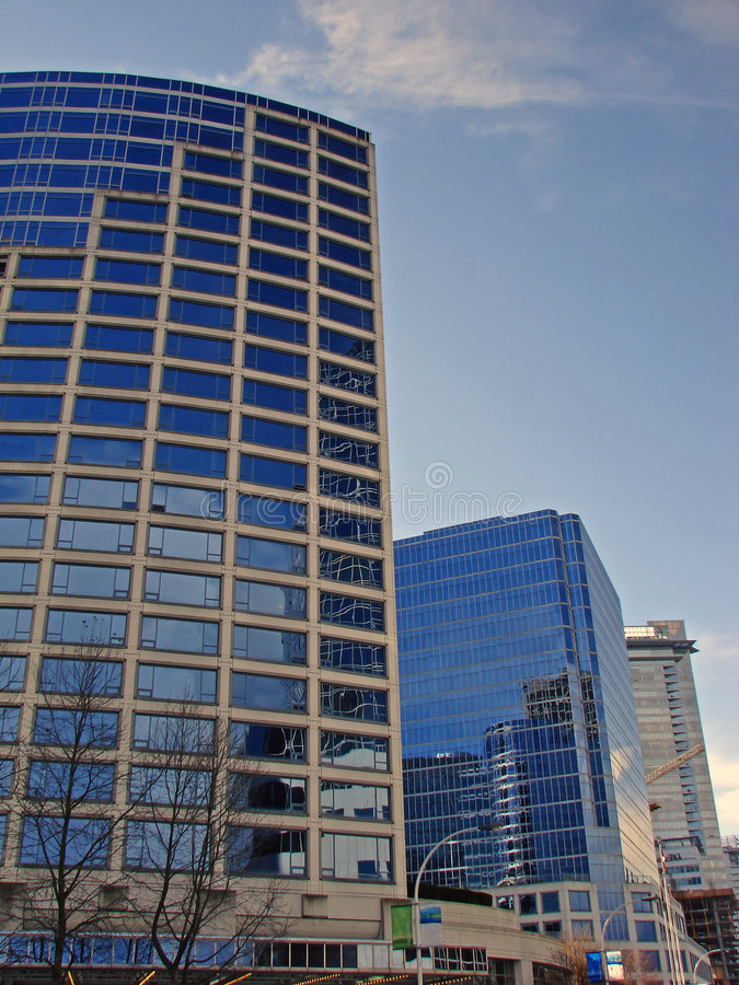 Vancouver, BC, Canada. A view of the tall glass buildings in downtown Vancouver, BC, Canada stock photography