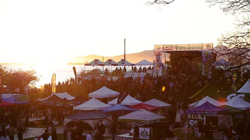 VANCOUVER, BC, CANADA - APR 20, 2019: Overview of the crowds and vendors at  the 420 festival in English Bay, Vancouver  Public, attendance