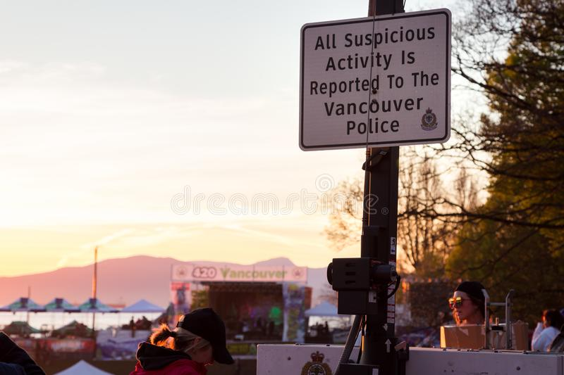 VANCOUVER, BC, CANADA - APR 20, 2019: A Vancouver Police sign at the 420 festival in Vancouver. stock images