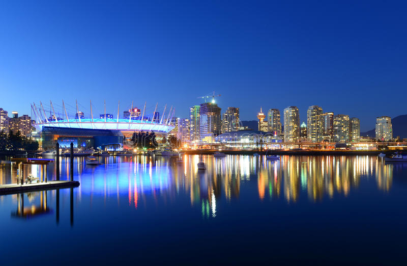 Vancouver, BC, Canada. Vancouver City skyline and BC Place Stadium at night, Vancouver, British Columbia, Canada royalty free stock image