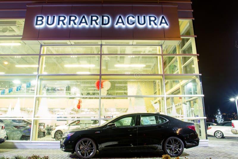 Vancouver BC, Canada - January 9, 2018: Acura Automobile Dealership