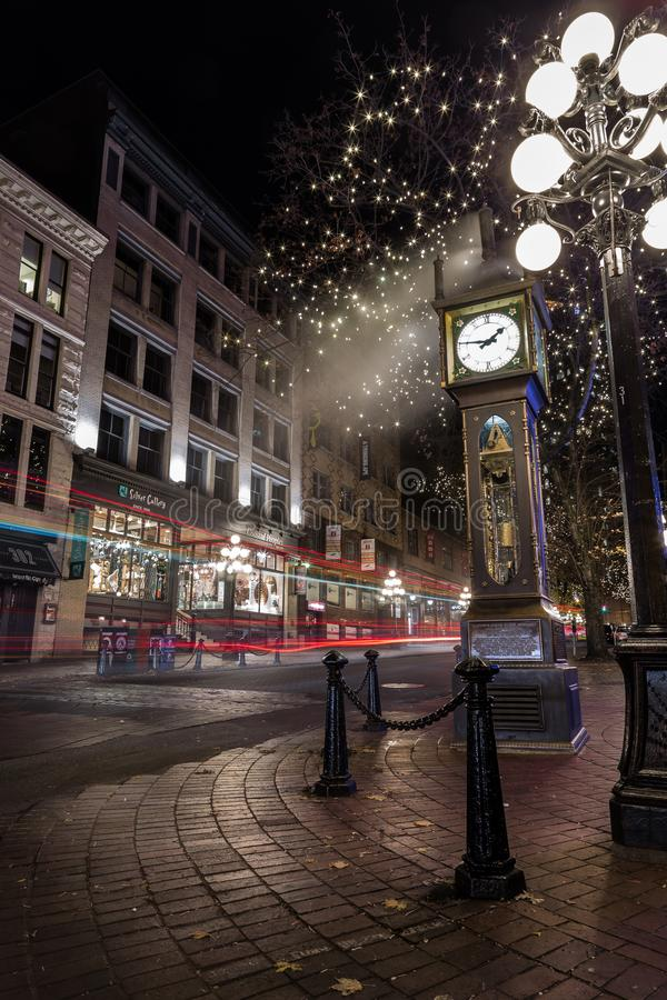 VANCOUVER, BC, CANADA - NOV 27, 2015: The old steam clock in Vancouver`s historic Gastown. VANCOUVER, BC, CANADA - NOV 27, 2015: The old steam clock in royalty free stock images