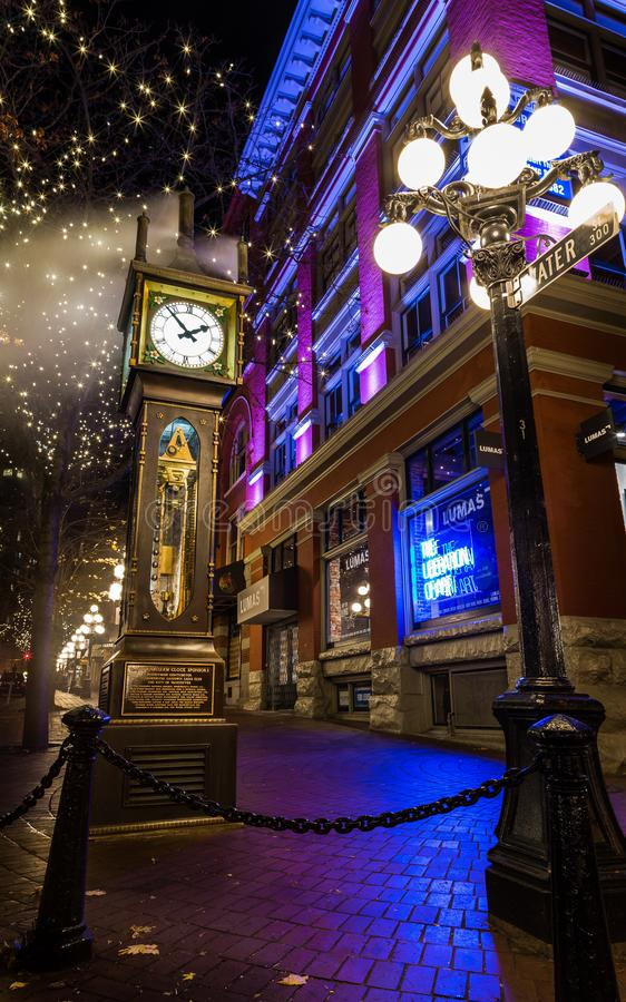 VANCOUVER, BC, CANADA - NOV 27, 2015: The old steam clock in Vancouver`s historic Gastown. VANCOUVER, BC, CANADA - NOV 27, 2015: The old steam clock in royalty free stock photos