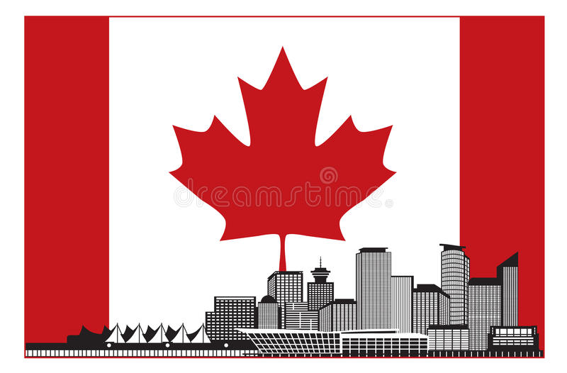 Vancouver BC Canada Skyline in Canadian Flag Vector Illustration royalty free illustration