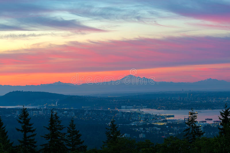 Vancouver BC cityscape with Cascade Range morning view stock image