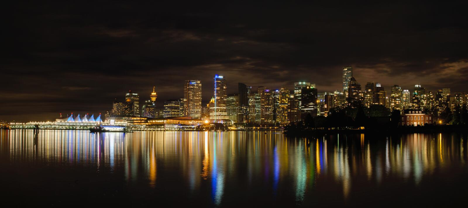 Vancouver BC Downtown Skyline at Night royalty free stock photos