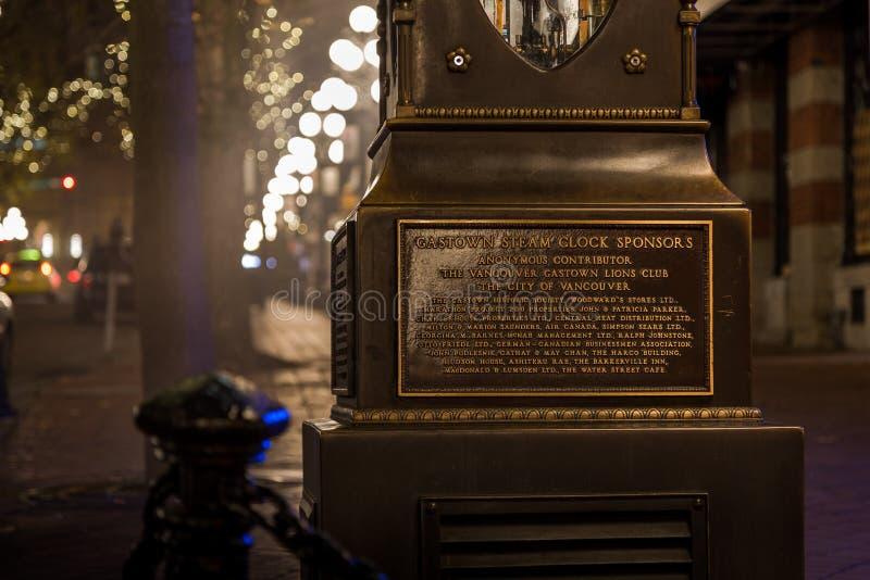 VANCOUVER, BC, IL CANADA - 27 NOVEMBRE 2015: Il vecchio orologio del vapore nel ` s Gastown storico di Vancouver fotografia stock libera da diritti