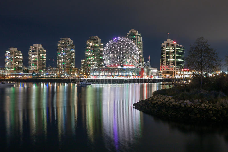 VANCOUVER BC KANADA - 19. November 2016: Geodätische Kuppel von Van stockbilder