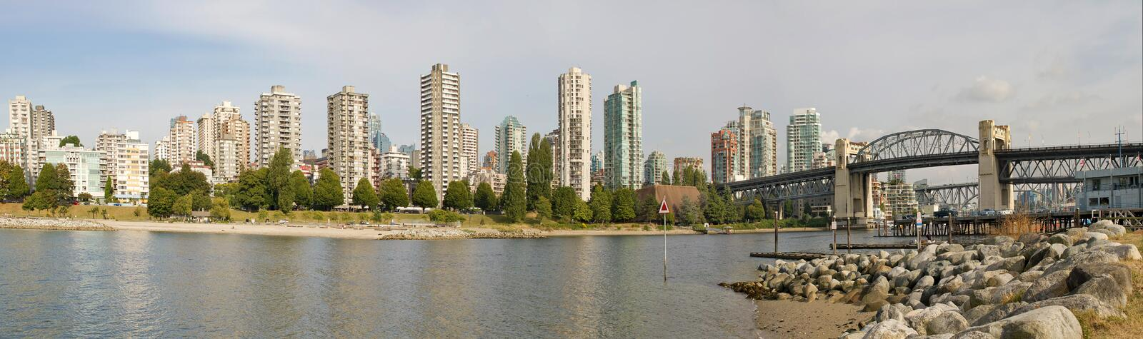 Vancouver BC Skyline And Burrard Bridge Panorama Stock Photo