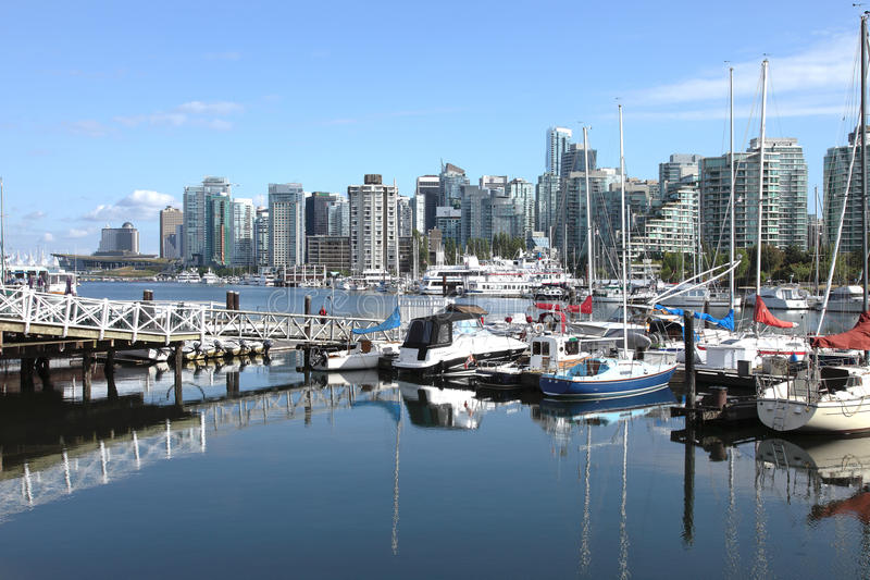 Vancouver BC skyline & sailboats Canada. royalty free stock photo