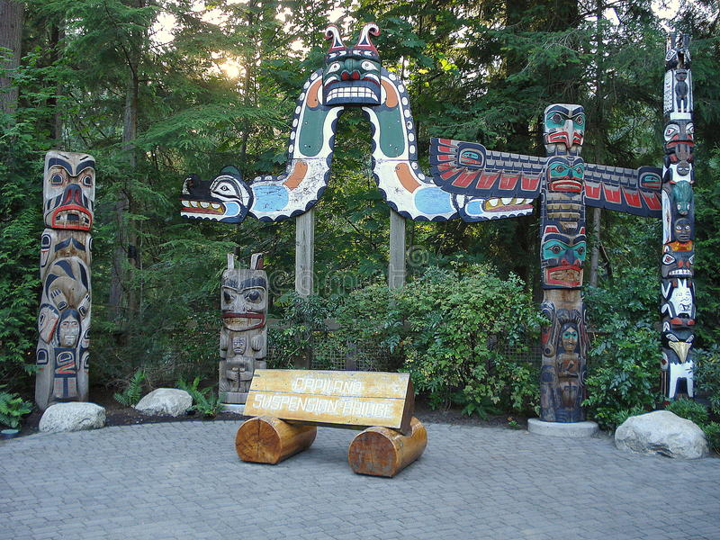 Vancouver, Britisch-Columbia Totempfähle stockbilder
