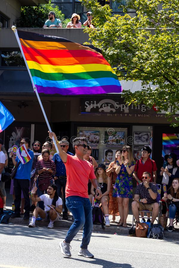 Vancouver, British Columbia, Canada - August 4, 2019: People take part in the Vancouver Gay Pride Parade 2019 stock photo