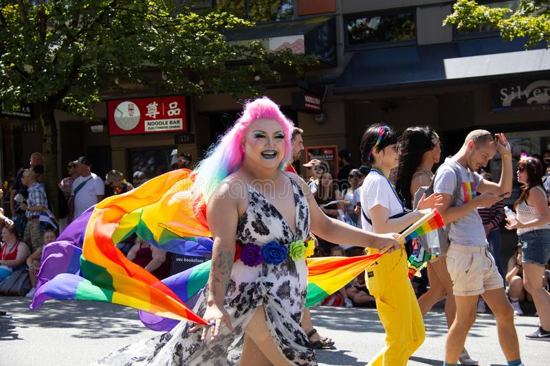 Vancouver, British Columbia, Canada - August 4, 2019: People take part in Vancouver Gay Pride Parade 2019 stock photography