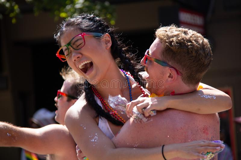 Vancouver, British Columbia, Canada - August 4, 2019: People take part in Vancouver Gay Pride Parade 2019 stock image