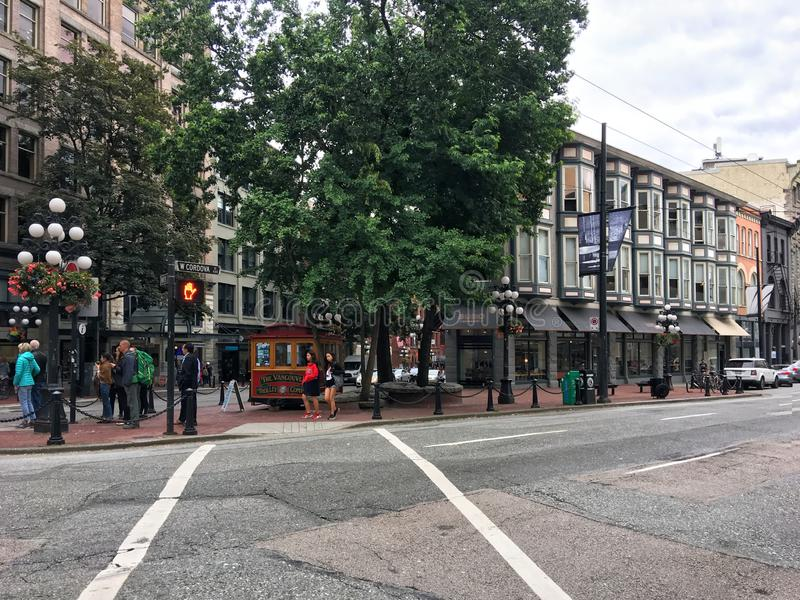 Vancouver, British Columbia, Canada - June 22, 2018 downtown of Vancouver. Tourists and residents walk along the scenic streets stock image