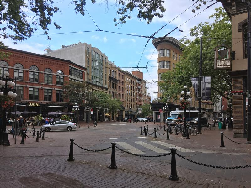Vancouver, British Columbia, Canada - June 22, 2018 downtown of Vancouver. Tourists and residents walk along the scenic streets royalty free stock photo