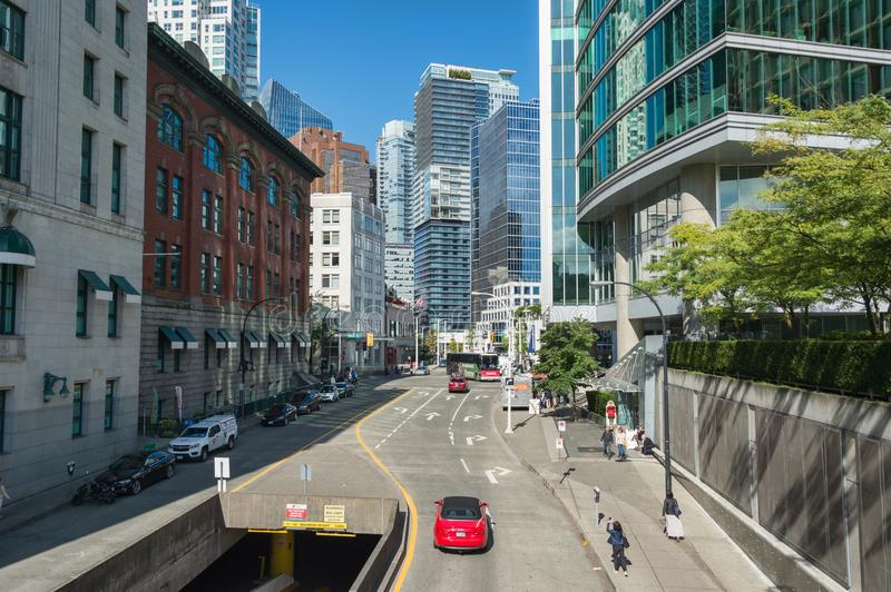 Vancouver Skyline from Cordova Street. Vancouver, British Columbia, Canada - 13 September 2017: Vancouver Skyline from Cordova Street stock images