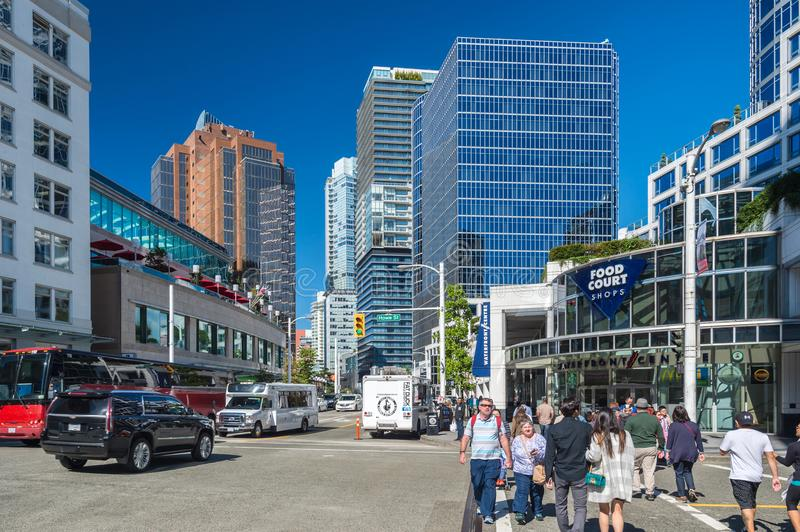 Vancouver Skyline from Cordova Street. Vancouver, British Columbia, Canada - 13 September 2017: Vancouver Skyline from Cordova Street stock photos