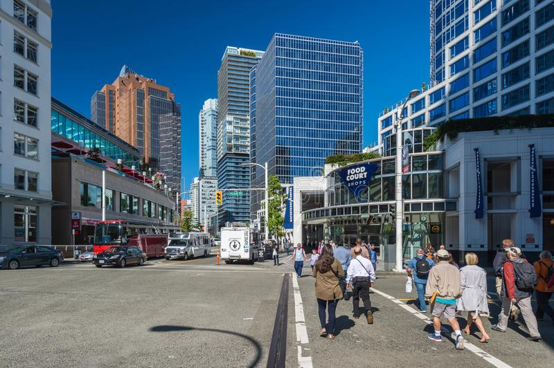 Vancouver Skyline from Cordova Street. Vancouver, British Columbia, Canada - 13 September 2017: Vancouver Skyline from Cordova Street stock image