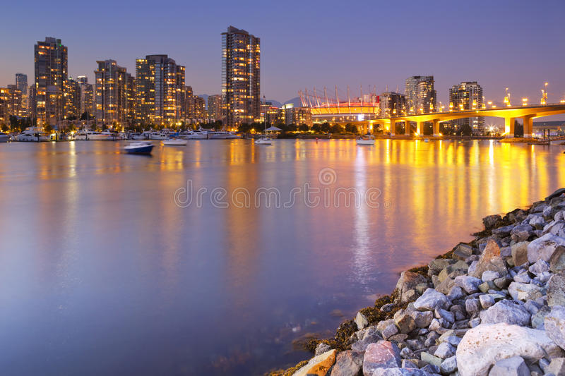 Vancouver, British Columbia, Canada skyline at dusk royalty free stock images