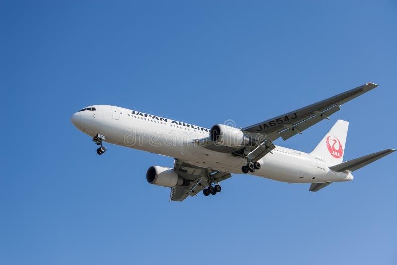Aviones de Japan Airlines imagen de archivo