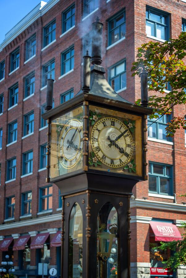 Free VANCOUVER, CANADA - August 3: Gastown Steamclock, A Famous Antique-style Clock Powered By Steam, In Vancouver BC Stock Image - 182700211