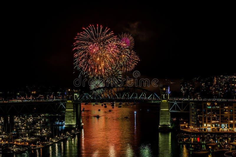 VANCOUVER, CANADA - AUGUSTUS 3, 2019: Honda-de Viering van het Lichte team van Kroatië voert vuurwerk in Vancouver uit royalty-vrije stock afbeeldingen
