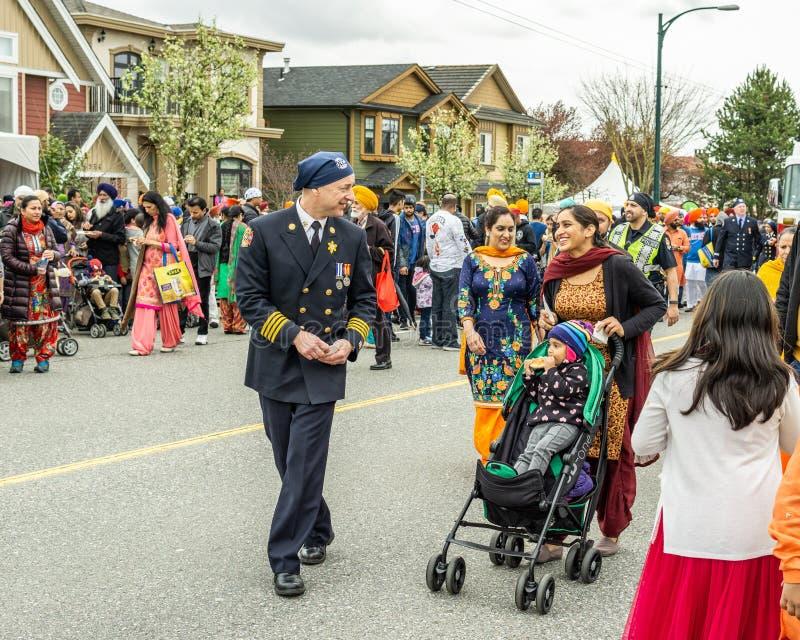 VANCOUVER, CANADA - 14 avril 2018 : policiers sur la rue pendant le défilé annuel de Vaisakhi d'Indien photos stock