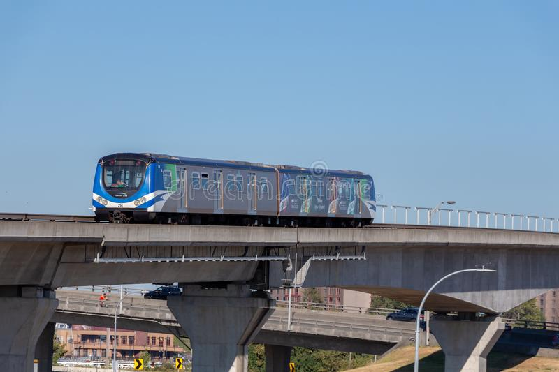 Vancouver, Canada - Circa 2018 : Canada Line Skytrain royalty free stock photo