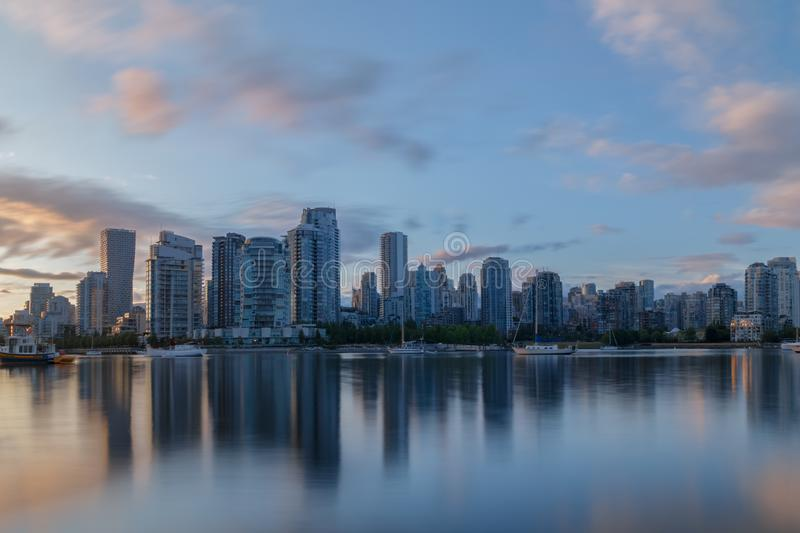 Vancouver, Canada - Circa 2019 : Vancouver`s Yaletown as seen from False Creek. Vancouver, Canada - Circa 2019 : Vancouver`s Yaletown viewed from False Creek at stock image